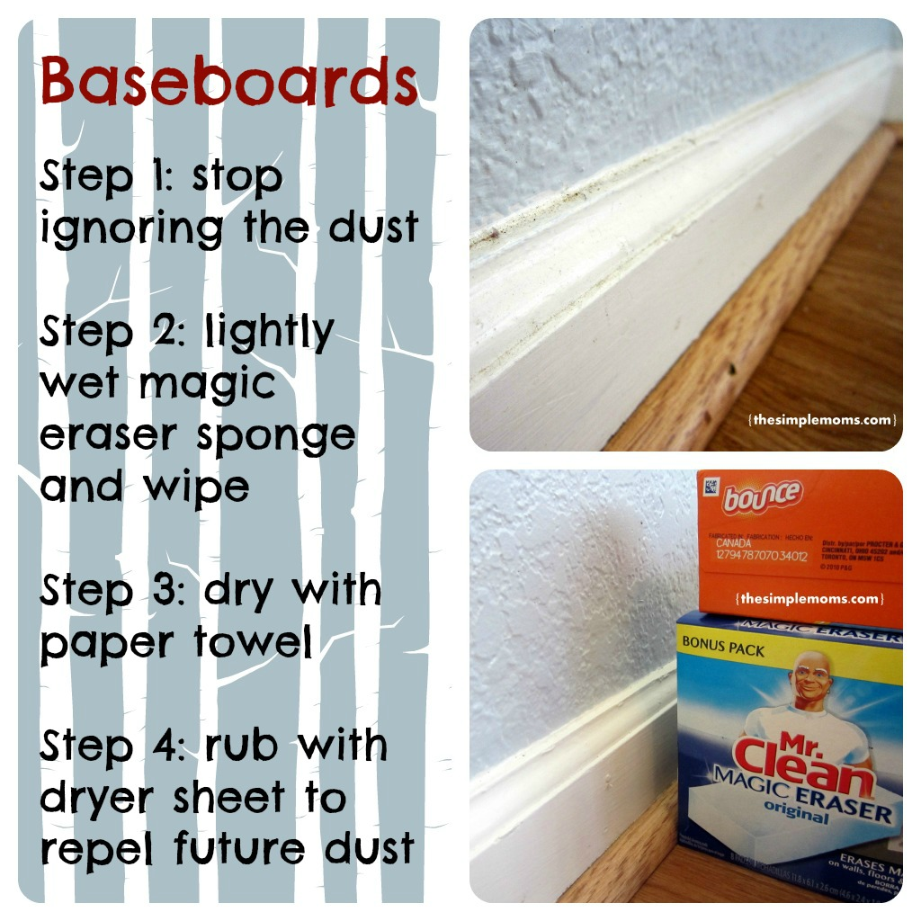 Time to clean up your baseboards saturday cleaning inspiration and tip the simple moms - Five easy cleaning tips get some time for yourself ...