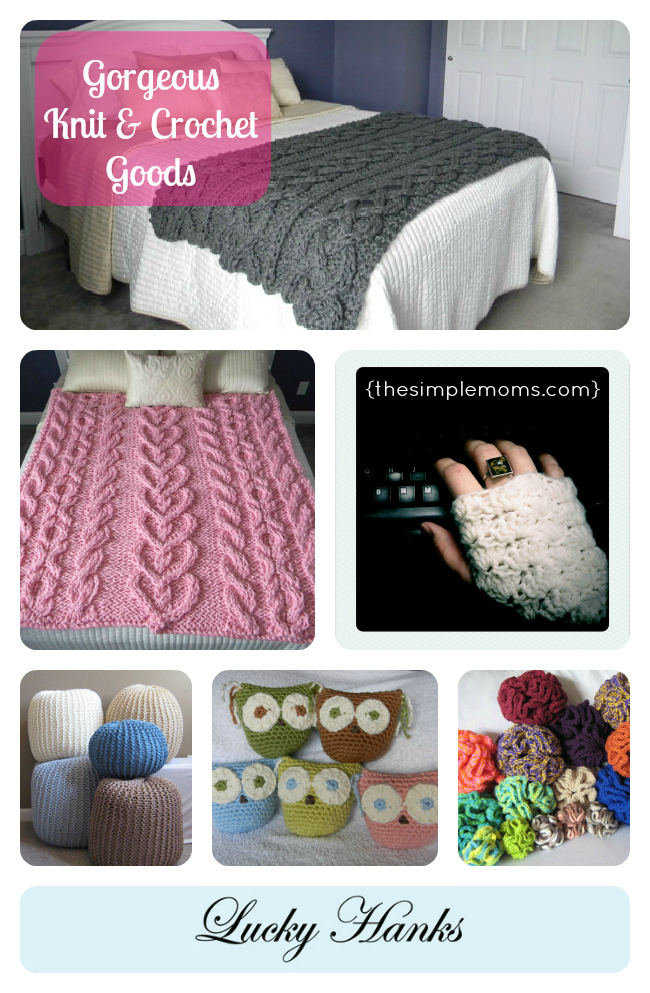 Lucky Hanks on Etsy - hand knit and crocheted goods - on The Simple Moms blog
