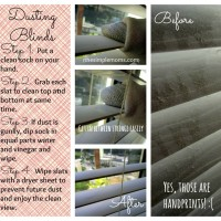 Easy and efficient cleaning of your blinds with a sock.