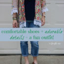 comfortable shoes and adorable details for a fun outfit