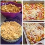baked chicken fajitas and spicy corn dip