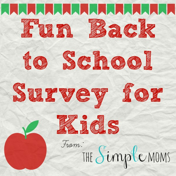 Fun Back to School Survey for Kids from The SIMPLE Moms