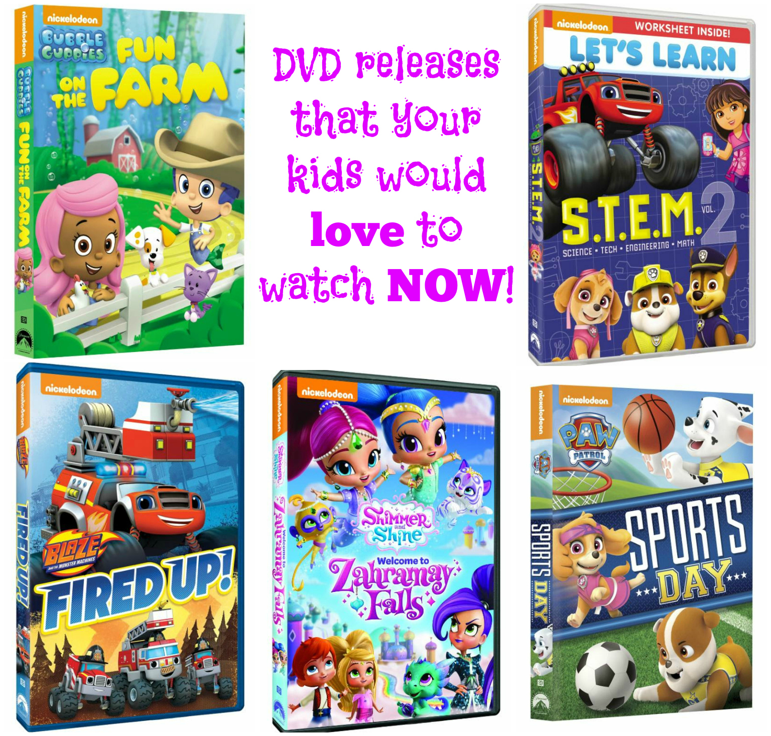 New releases to at home dvd from Nickelodeon
