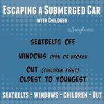 escaping a submerged car with children :: seatbelts-windows-children-out