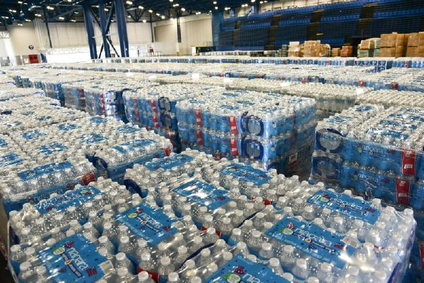 August 30, 2017. Houston , Texas. Pallets of water are staged on-site at the George R. Brown Convention Center in preparation for distribution. Photo by Daniel Cima for The American Red Cross